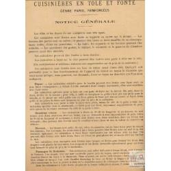 notice cuisinières tôle et fonte Paris